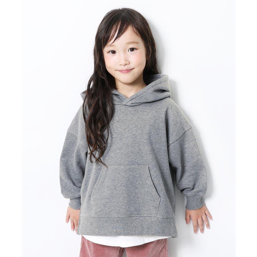 [devirock スウェットレイヤードプルパーカー 男の子 女の子 トップス トレーナー 重ね着風 長袖 長そで] 子供服 キッズベビー ジュニア 韓国子供服 子ども 23