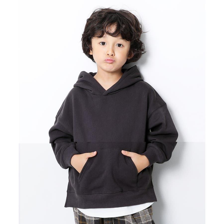 [devirock スウェットレイヤードプルパーカー 男の子 女の子 トップス トレーナー 重ね着風 長袖 長そで] 子供服 キッズベビー ジュニア 韓国子供服 子ども 82