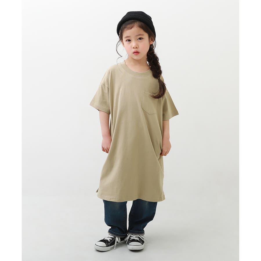 [BIGシルエットロング丈ワンピース 女の子 ワンピース 半袖 半そで] 綿100% トップス 半袖 半そで Tシャツ 子供服 中学生キッズベビー ジュニア 韓国子供服 子ども ダンス M1-2 46