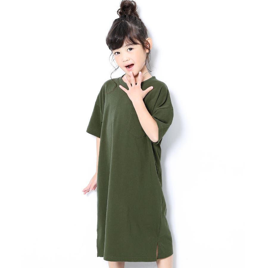 [BIGシルエットロング丈ワンピース 女の子 ワンピース 半袖 半そで] 綿100% トップス 半袖 半そで Tシャツ 子供服 中学生キッズベビー ジュニア 韓国子供服 子ども ダンス M1-2 58