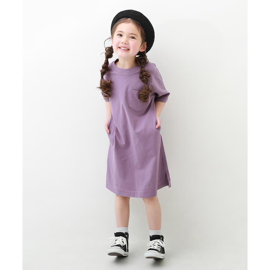 [BIGシルエットロング丈ワンピース 女の子 ワンピース 半袖 半そで] 綿100% トップス 半袖 半そで Tシャツ 子供服 中学生キッズベビー ジュニア 韓国子供服 子ども ダンス M1-2 80