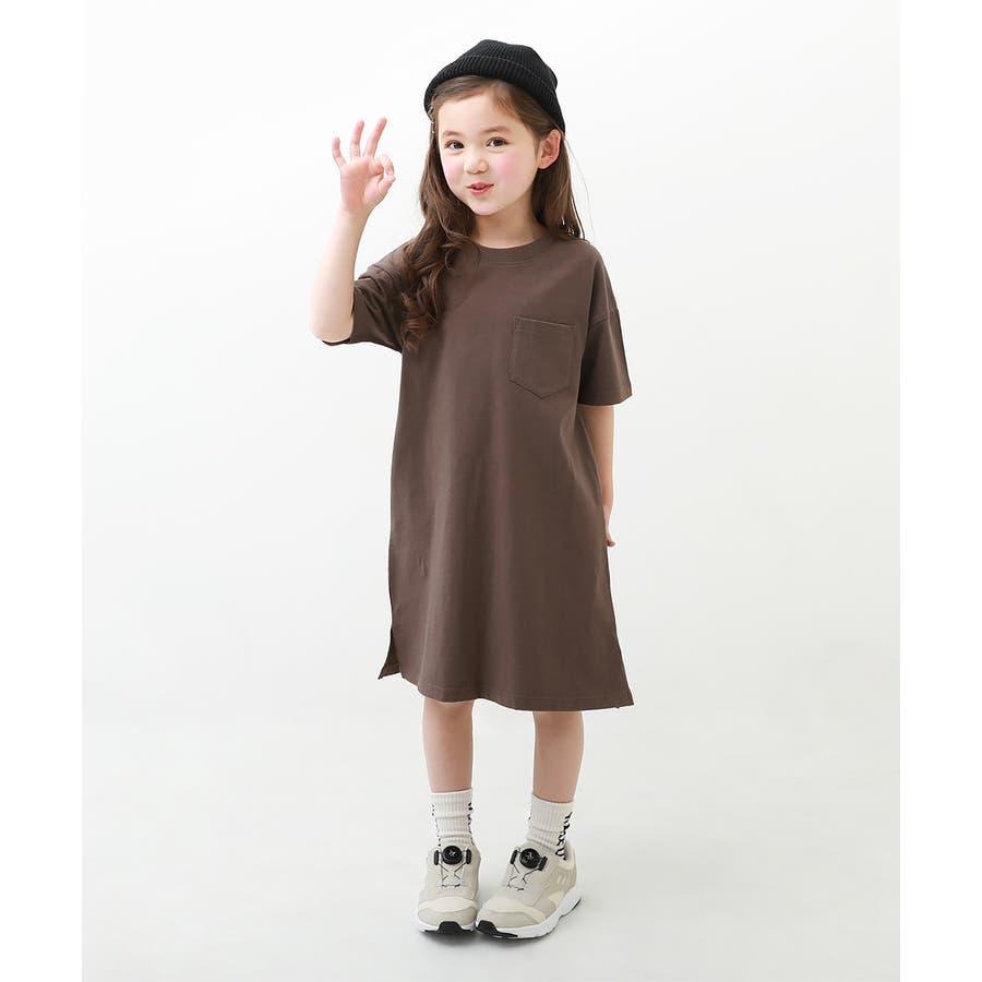 [BIGシルエットロング丈ワンピース 女の子 ワンピース 半袖 半そで] 綿100% トップス 半袖 半そで Tシャツ 子供服 中学生キッズベビー ジュニア 韓国子供服 子ども ダンス M1-2 35