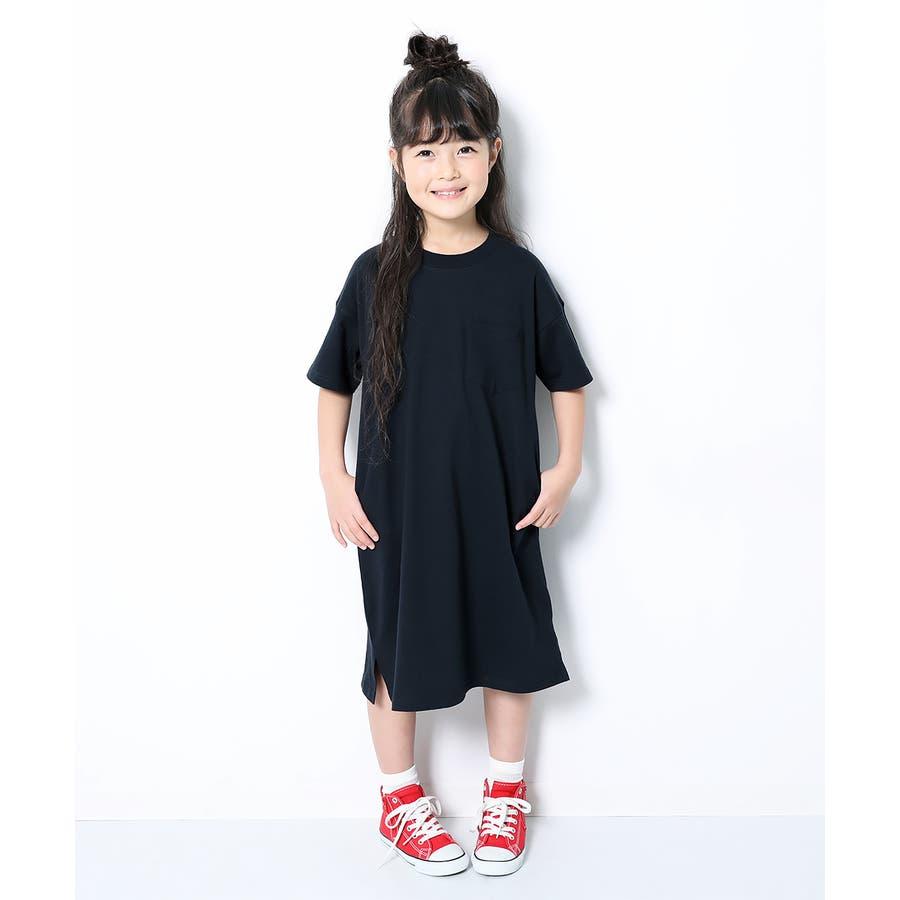 [BIGシルエットロング丈ワンピース 女の子 ワンピース 半袖 半そで] 綿100% トップス 半袖 半そで Tシャツ 子供服 中学生キッズベビー ジュニア 韓国子供服 子ども ダンス M1-2 64