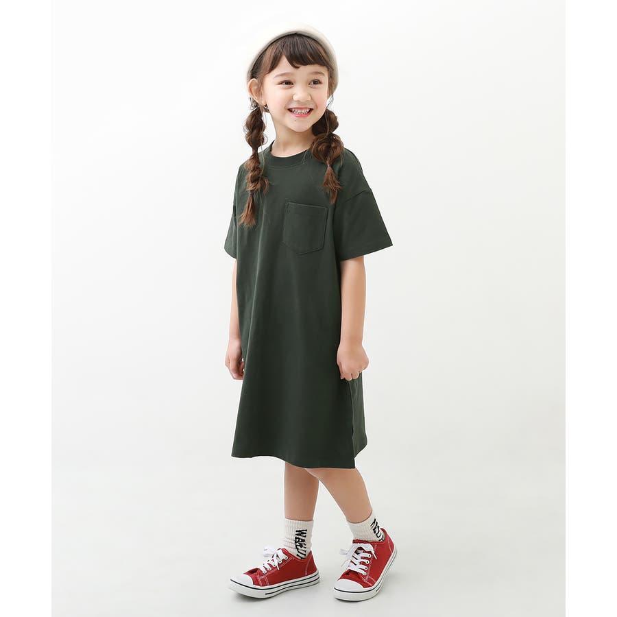 [BIGシルエットロング丈ワンピース 女の子 ワンピース 半袖 半そで] 綿100% トップス 半袖 半そで Tシャツ 子供服 中学生キッズベビー ジュニア 韓国子供服 子ども ダンス M1-2 22