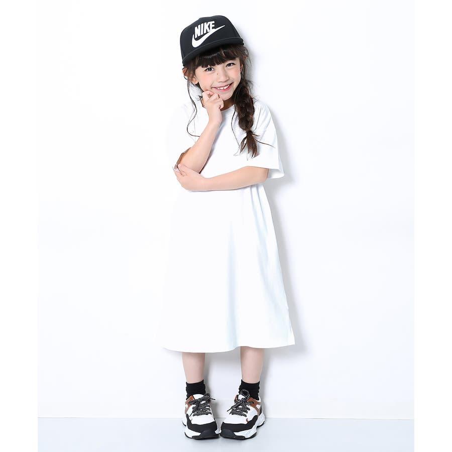 [BIGシルエットロング丈ワンピース 女の子 ワンピース 半袖 半そで] 綿100% トップス 半袖 半そで Tシャツ 子供服 中学生キッズベビー ジュニア 韓国子供服 子ども ダンス M1-2 16