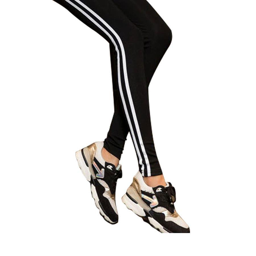 【サイドダブルライン レギンス】サイドダブルライン レギンス スポーツレギンス 美ライン 美脚 おしゃれスキニー 韓国ファッション 韓国 大きいサイズ 9