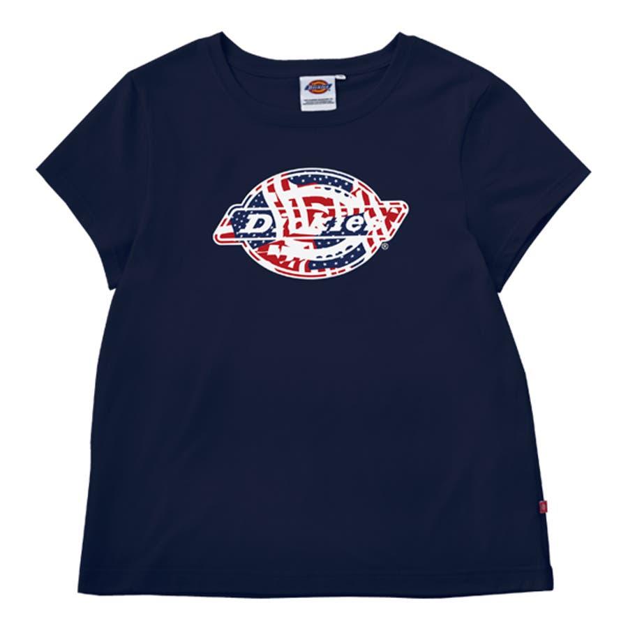 可愛さにやられました! 2016 USALINE  レディース フラッグ柄抜きロゴプリントTシャツ Dickies公式ストア ディッキーズ RCP  MFS0301 愚妻