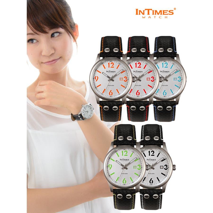 INTIMES インタイムス ステンレス・ケース/本革レザー・ベルト メンズ/レディース 腕時計 IT1066L 1