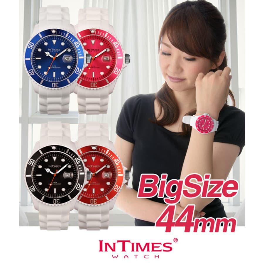 6d13a567f5 INTIMES インタイムス 44mm 軽量 シリコン ホワイト 白 ダイバー メンズ/レディース 腕時計 IT057MC