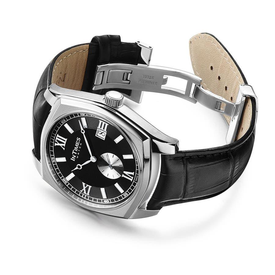 quality design 1ff58 a8eb4 INTIMES インタイムス 100m防水 44mm エレガントな大人スタイル 本革ベルト Dバックル メンズ 腕時計, ITPC1070