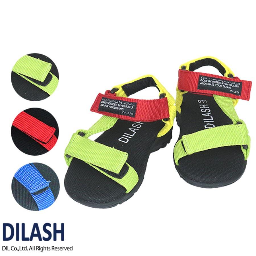 サンダル/DILASH(ディラッシュ)夏 子供 男の子 女の子 男女 お揃い ユニセックス カジュアル アメカジ サンダル 水遊びテープ式 マジックテープ 1