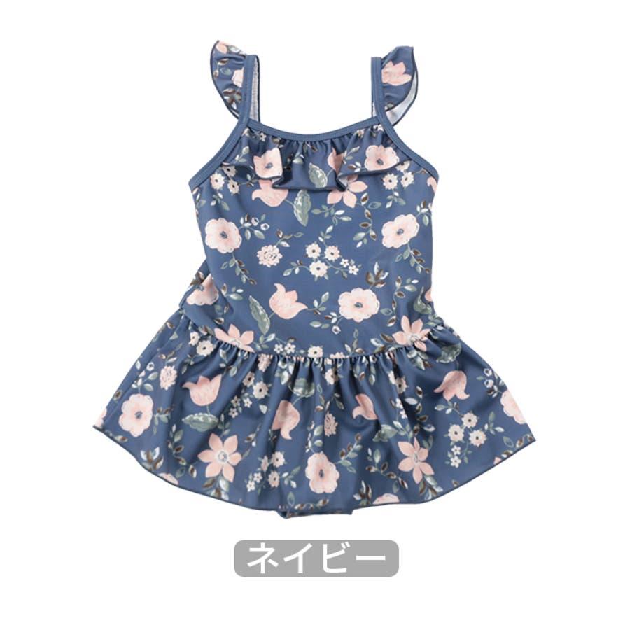 【2020夏 新作】花柄ワンピース水着/La poche biscuit(ラ・ポシェ・ビスキュイ)夏 キッズ 女の子 海 プール 花柄お揃い フリル ナチュラル かわいい ネイビー ピンク 4