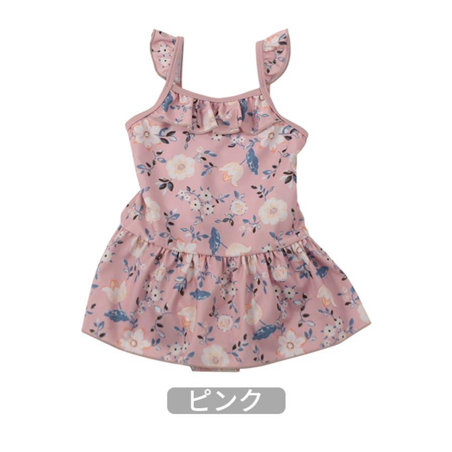 【2020夏 新作】花柄ワンピース水着/La poche biscuit(ラ・ポシェ・ビスキュイ)夏 キッズ 女の子 海 プール 花柄お揃い フリル ナチュラル かわいい ネイビー ピンク 3