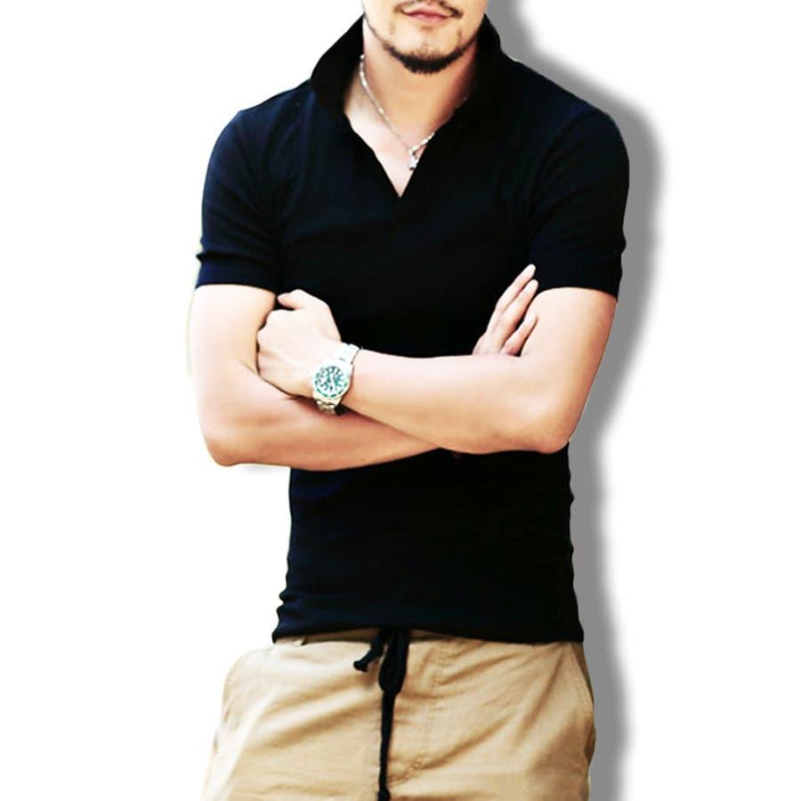 スキッパーポロシャツ メンズ Tシャツ カットソー 半袖 無地 ゴルフウェア トップス カジュアル コーデ 黒 紺 白