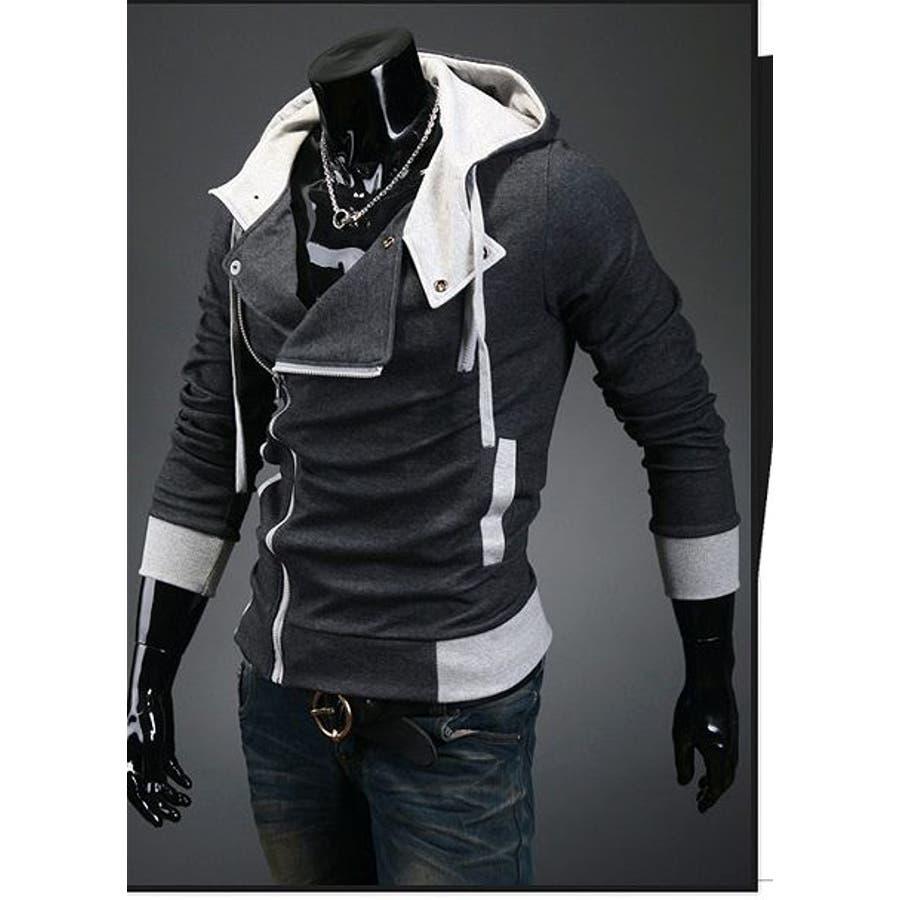 最近一番気に入ってる ジャケット メンズ 長袖 無地 ジップアップ フード ポケット シンプル きれいめ 細身 着回し コーデ 春 秋 冬 号外