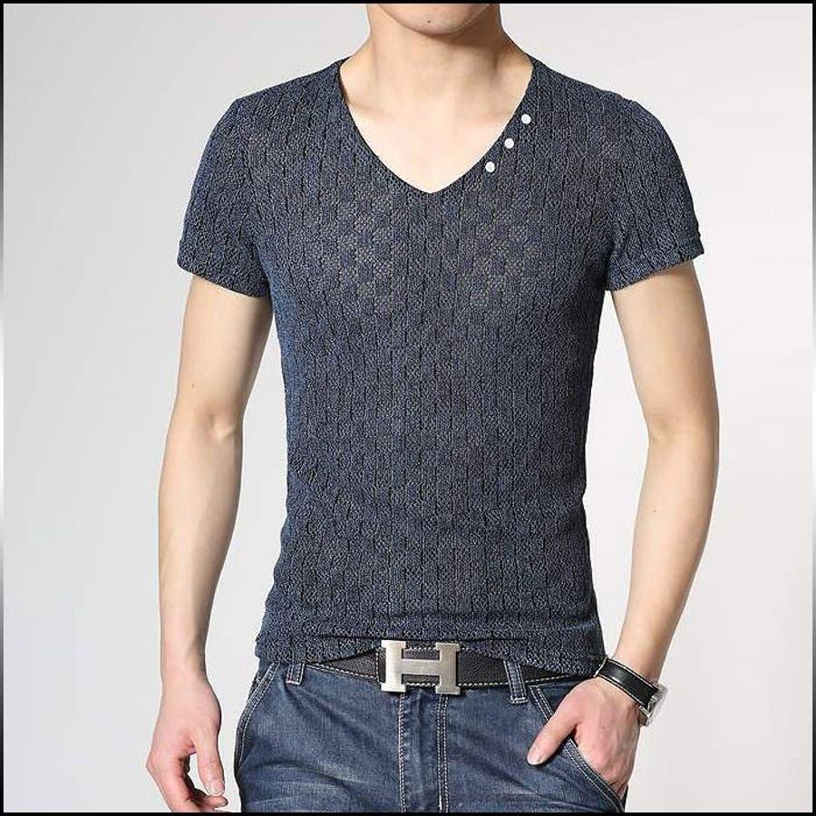 お洒落に魅せる着こなし Tシャツ メンズ トップス 半袖 Vネック 無地 ニット カットソー インナー きれい目 カジュアル お兄系 Vネック 罵詈