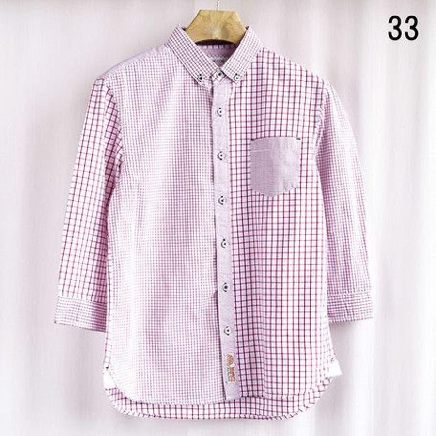 色違いであと一着欲しいかも カジュアルシャツ メンズ トップス ウィンドペン チェック クレイジー切替 ボタンダウン 7分袖シャツ コーデ 七分袖 プレゼント父の日 訳合