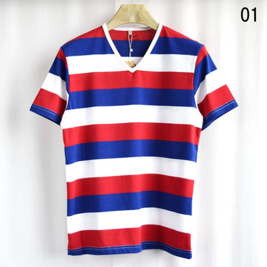 いい感じで他の色も欲しい Tシャツ メンズ トップス 天竺 太ボーダー Vネック 半袖Tシャツ メンズファッション 半袖 父の日 秋冬 春 激昂
