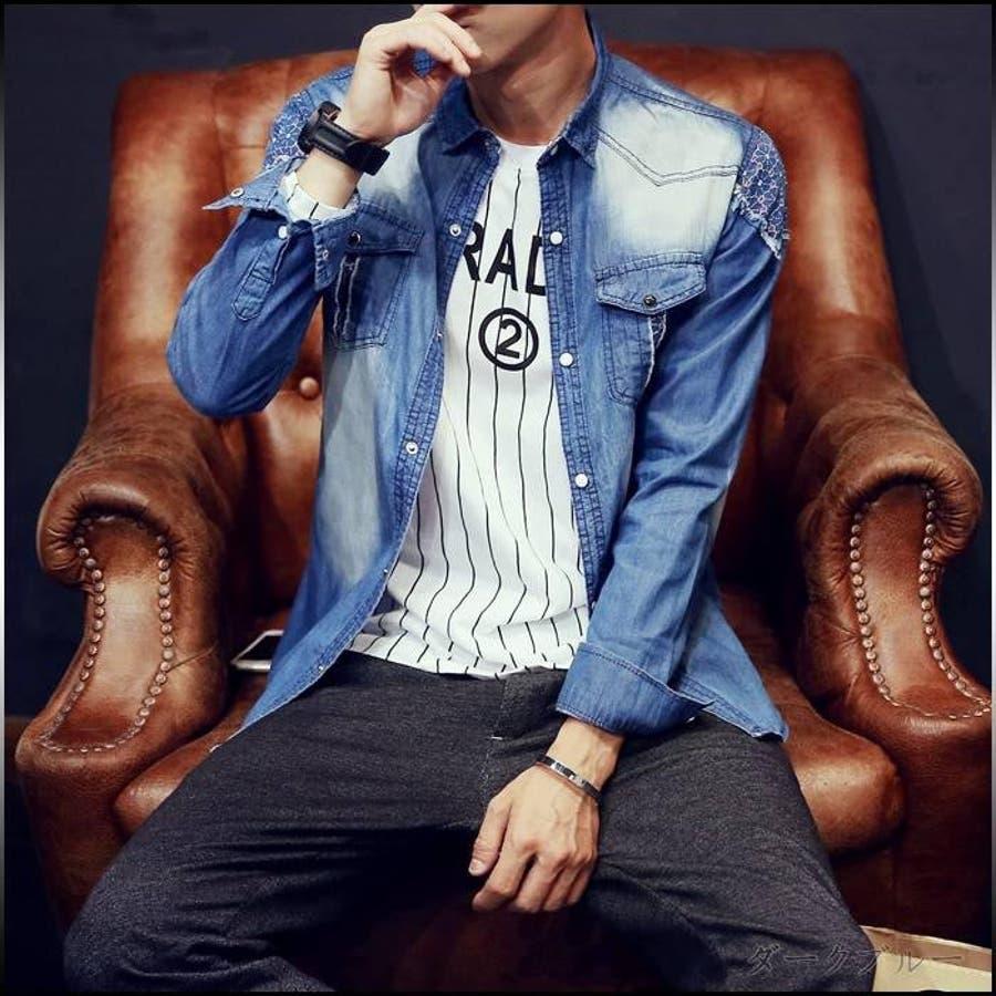 一着持ってて損は無い デニムシャツ メンズ トップス シャツ 長袖 無地 ウォッシュ加工 レース切替 クラッシュ 羽織 シャツジャケット アメカジカジュアル メンズファッション カジュアルシャツ 春 誤字
