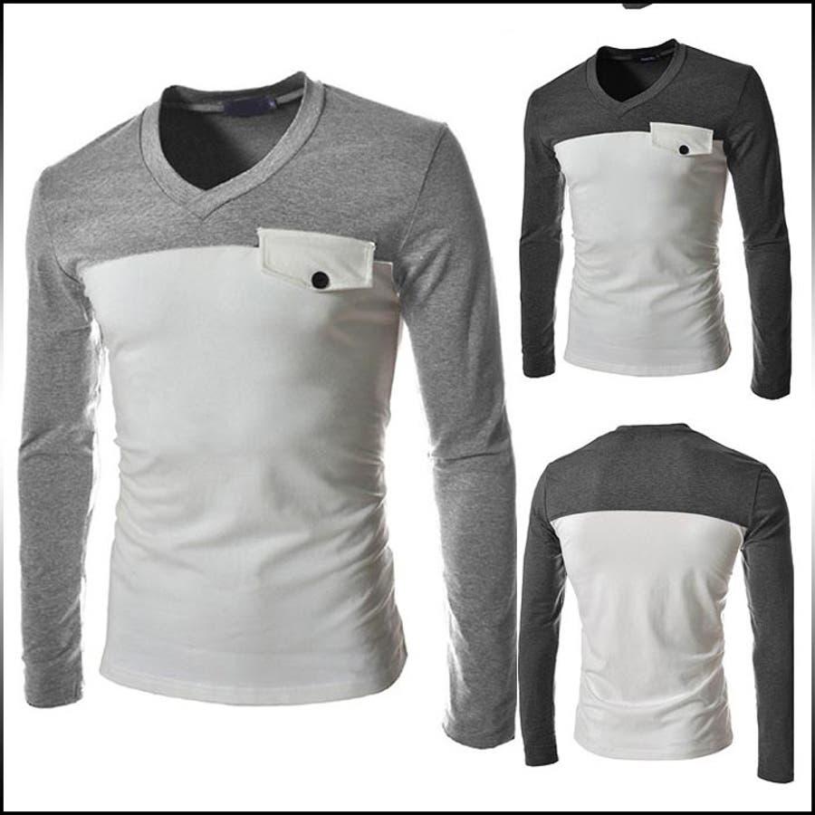 活躍度満点 Tシャツ メンズ トップス 長袖 ロンT カットソー Vネック バイカラー 家畜
