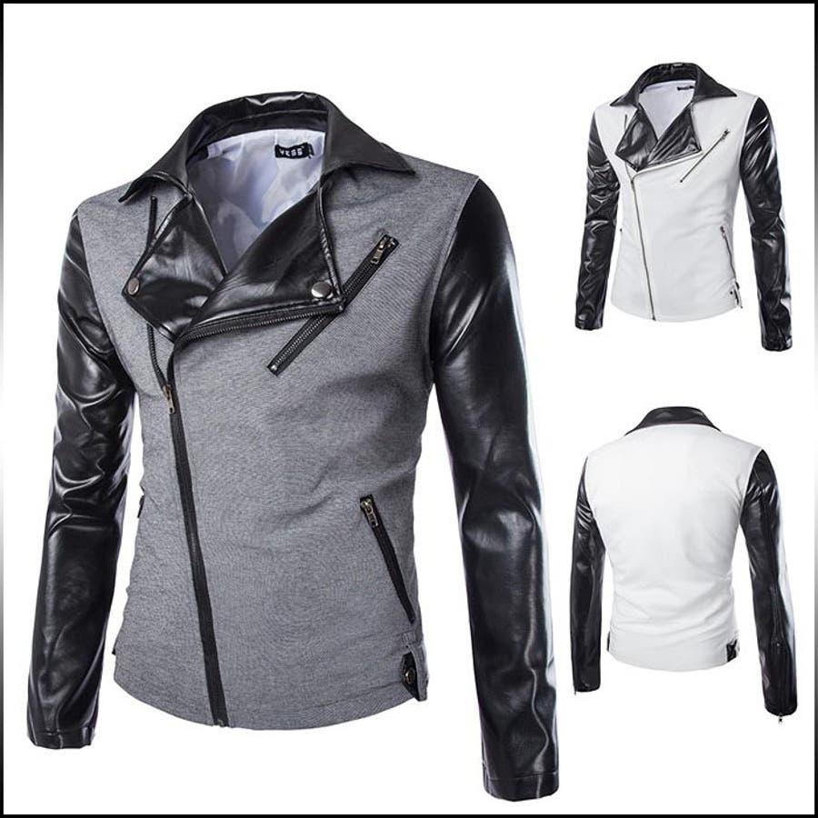 色がきれいで気に入った メンズファッション通販ライダースジャケット メンズ アウター ジャケット ライダース バイカラー メンズファッション ジャンパー ブルゾン コーデ 焙煎