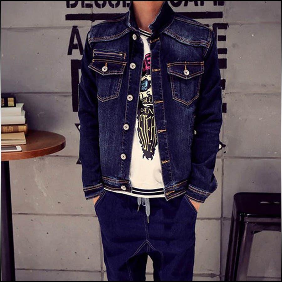幅広いジャンルで活用できる デニムジャケット メンズ アウター Gジャン ウォッシュ加工 ジャンパー ブルゾン コーデ 激怒