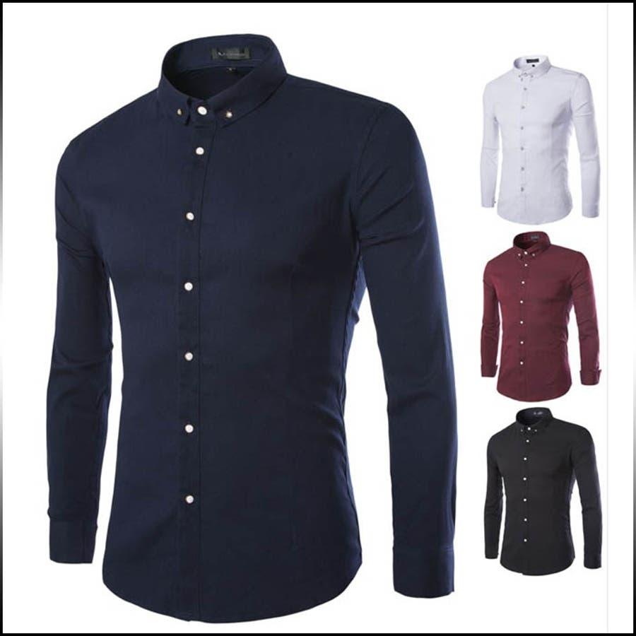 ヘビロテ必至の便利アイテム ボタンダウンシャツ メンズ トップス 長袖 無地 白ボタン シンプル インナー きれい目 細身 スリム カジュアル 縛帯