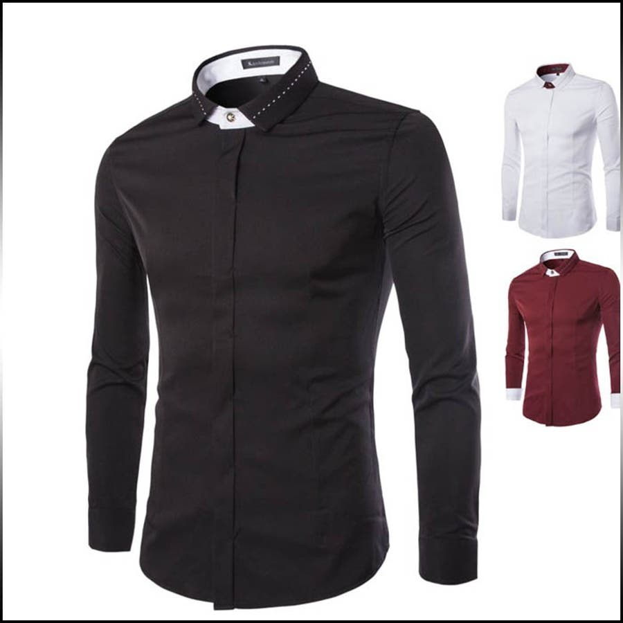 スタイルよく見えます! カジュアルシャツ メンズ トップス 長袖 無地 隠しボタン ステッチ シンプル インナー きれい目 細身 スリム コーデ 偶像
