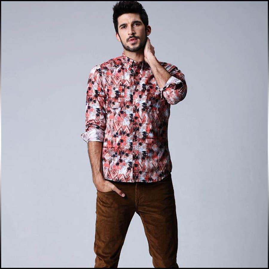 あわせやすさ、使いやすいデザイン メンズファッション通販カジュアルシャツ メンズ トップス 長袖 ボタンダウン 総柄 コーデ 媒材