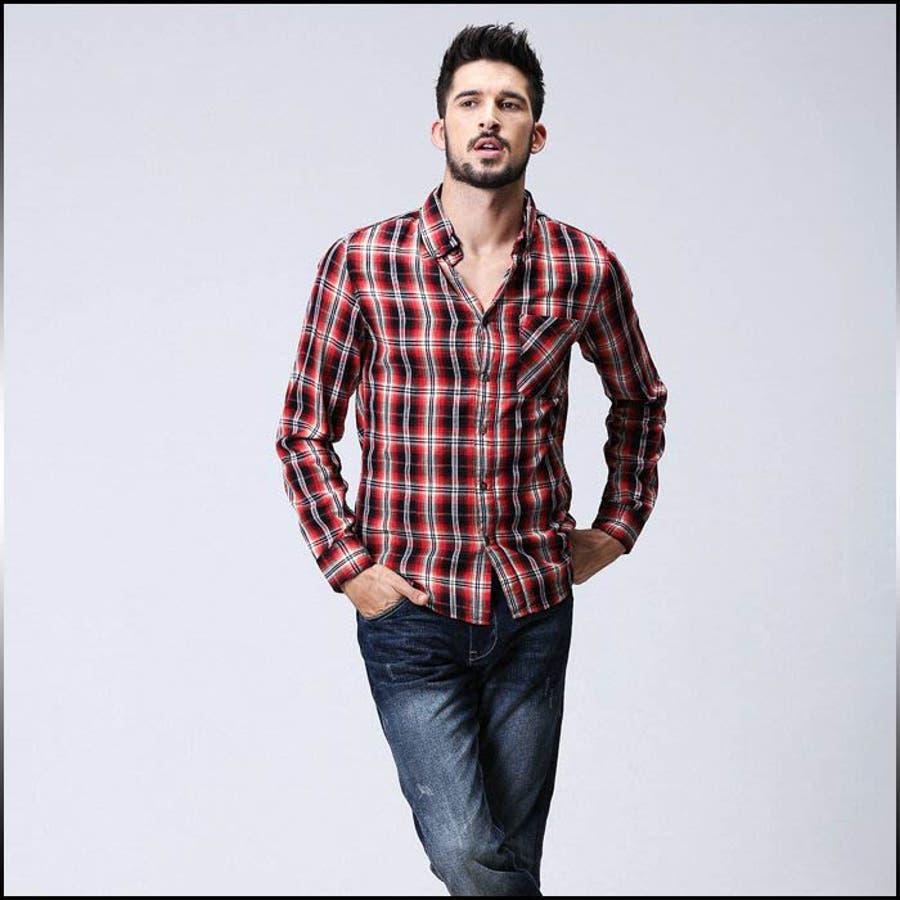 上品にまとまる カジュアルシャツ メンズ トップス 長袖 ボタンダウン チェック柄 コーデ 激突