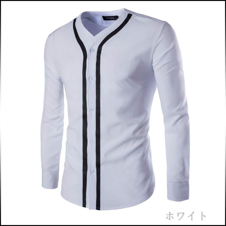 シンプルでスッキリしたシルエット カジュアルシャツ メンズ トップス 長袖 ノーカラー 襟なし ライン コーデ 万化