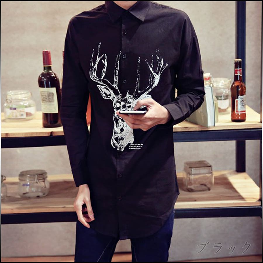 これからの季節活躍しそうです! カジュアルシャツ メンズ トップス シャツ 長袖 プリント 動物柄 鹿プリント 長め丈 ロールアップ きれいめ カジュアル コーデメンズファッション 栄華