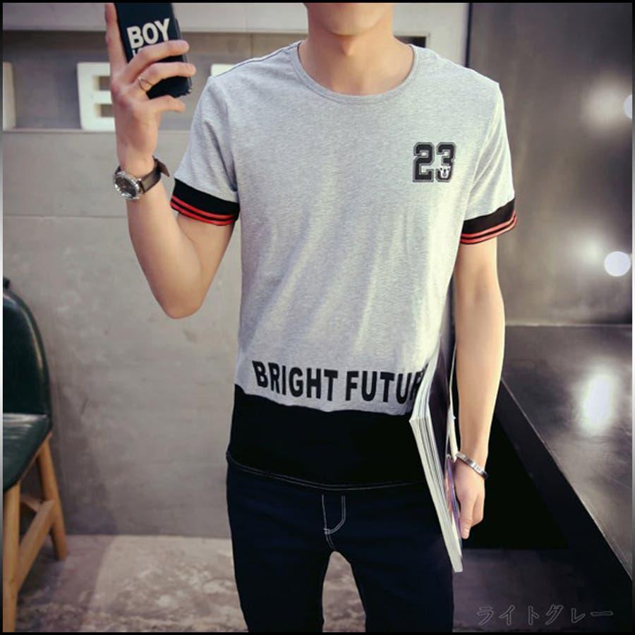 選んで正解 Tシャツ メンズ トップス 半袖 クルーネック プリント ロゴ 数字 カラーブロック アメカジ インナー 細身 カジュアル大きいサイズ メンズファッション 父の日 協働