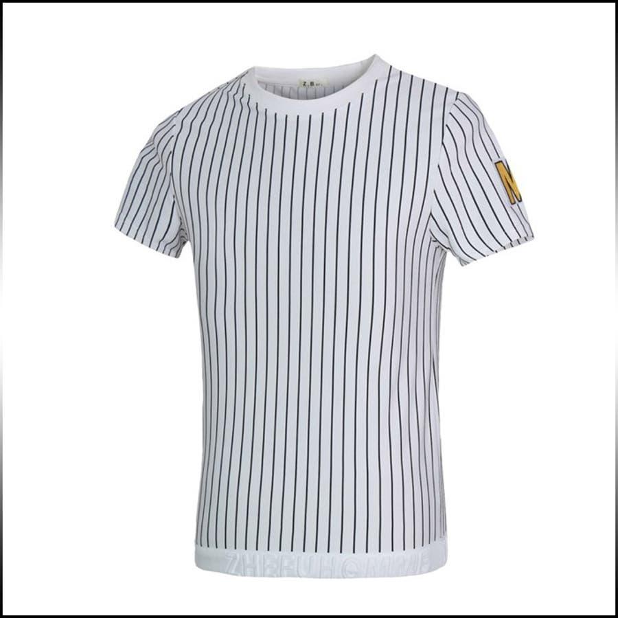 活躍するアイテム Tシャツ メンズ トップス 半袖 クルーネック ストライプ ロゴ プルオーバー インナー きれいめ カジュアル コーデメンズファッション 父の日 男運