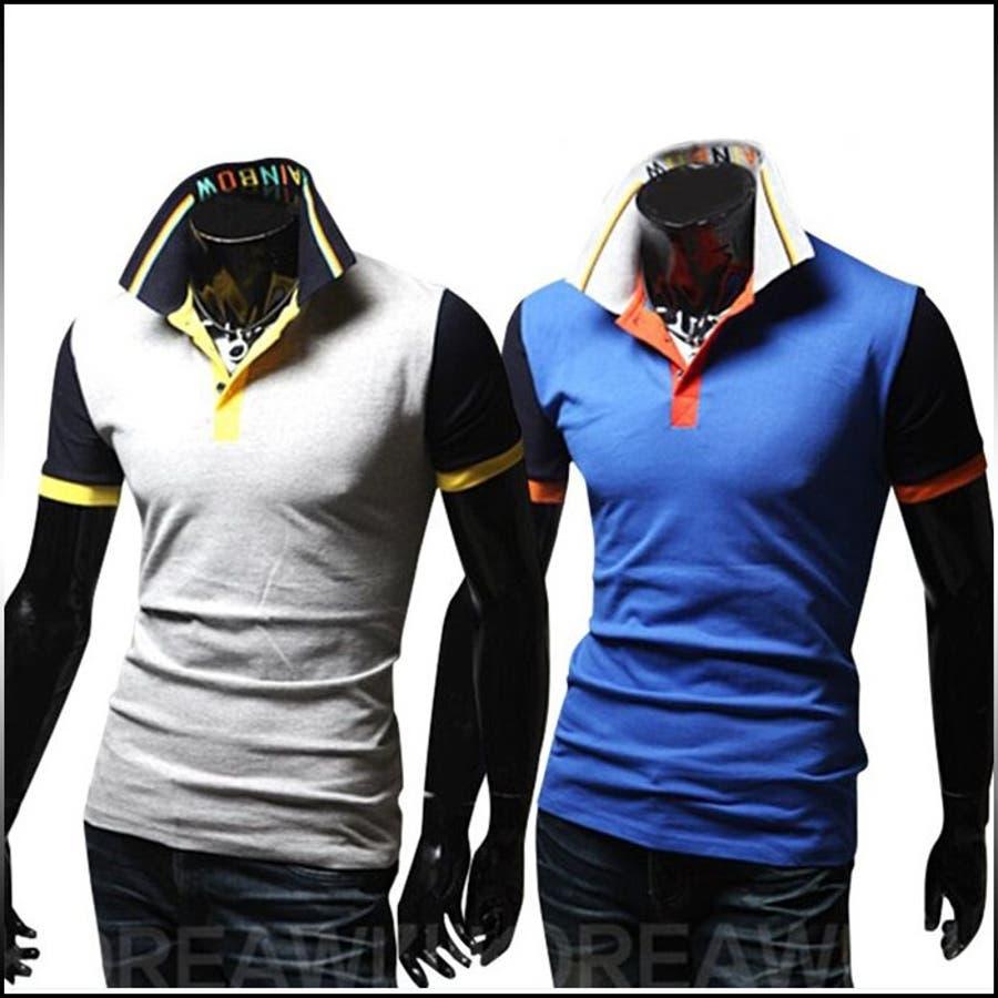 コーデが楽しめそう ポロシャツ メンズ トップス 半袖 無地 カラーブロック ロゴプリント カットソー プルオーバー きれいめ カジュアル ゴルフウエアメンズファッション 経緯