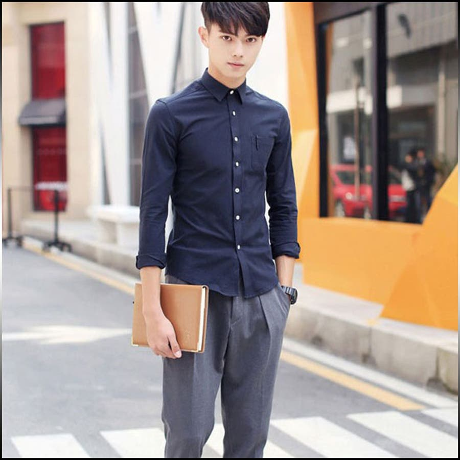 様々なシーンに対応できる メンズファッション通販カジュアルシャツ メンズ トップス シャツ 長袖 無地 シンプル インナー 羽織 細身 カジュアル コーデ 大きいサイズメンズファッション 売電
