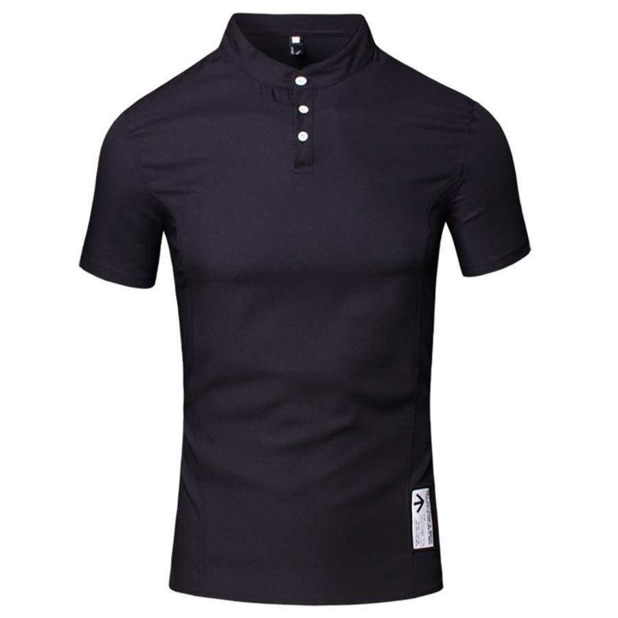 どの服にも合わせやすい カジュアルシャツ メンズ トップス シャツ 半袖 スタンドカラー マオカラー プルオーバー 無地 エンブレム ハーフボタン きれいめカジュアル 大きいサイズ メンズファッション コーデ 豪遊