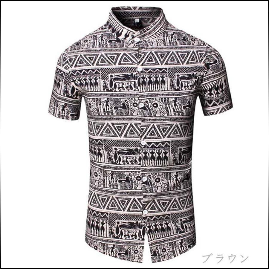 ワンランク上のコーデを目指す カジュアルシャツ メンズ トップス シャツ 半袖 スタンドカラー マオカラー 総柄 エスニック柄 エジプト壁画風 インナー 細身カジュアル 大きいサイズ メンズファッション コーデ 機転