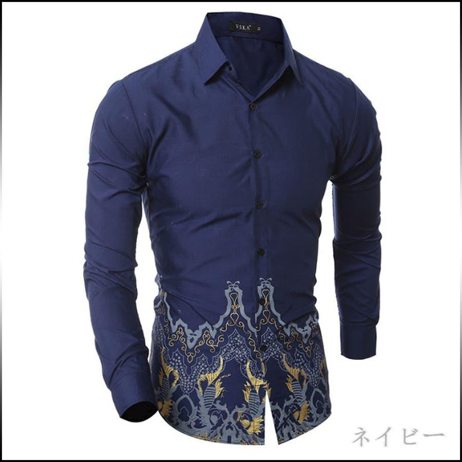 形も色も良くて、格好良く着れます カジュアルシャツ メンズ トップス シャツ 長袖 裾プリント シック 細身 スリム きれいめ インナー カジュアル お兄系メンズファッション 傲岸