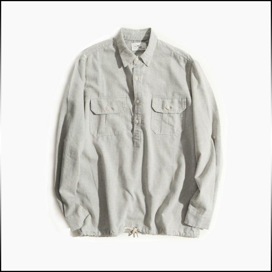 かなりの優れもの カジュアルシャツ メンズ トップス シャツ 長袖 無地 プルオーバー ハーフボタン インナー 胸ポケット シンプル オーバーサイズきれいめ カジュアル メンズファッション 連盟