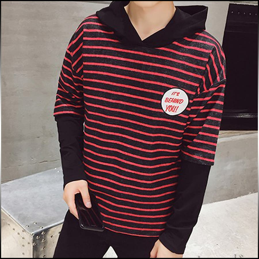 美シルエットを構築できる Tシャツ メンズ トップス シャツ ロンT 長袖 ボーダー フード ワッペン カラー切り替え シンプル カジュアル メンズファッション 合議