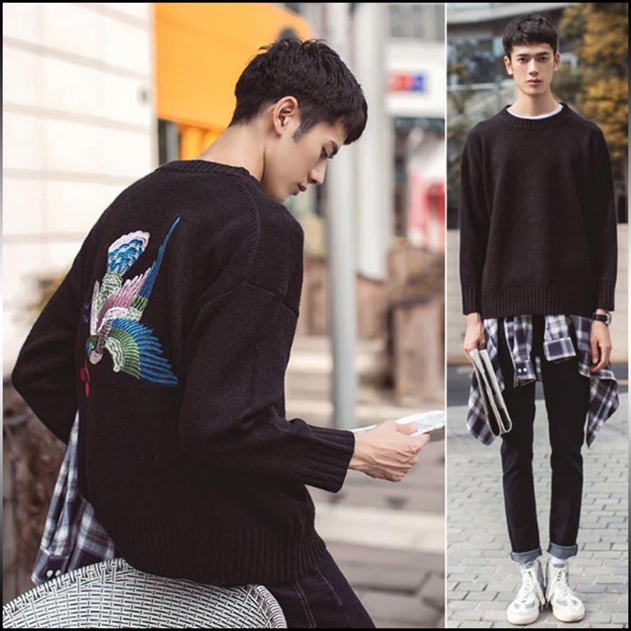 カッコよく見える メンズファッション通販ニット メンズ トップス セーター クルーネック ドロップショルダー オーバーサイズ バック刺繍 鳥 きれいめ カジュアルメンズファッション 紳士服 挽回