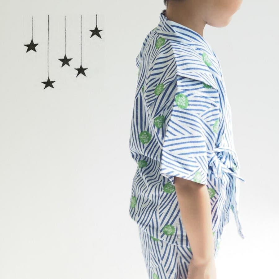 キッズ 甚平 ホタル柄 ストライプ 簡単 着付け 子供 浴衣 ベビー 男の子 女の子 和服 和柄 CaldiaカルディアDONOBAN MAMA SELECT ドノバンママセレクト 4