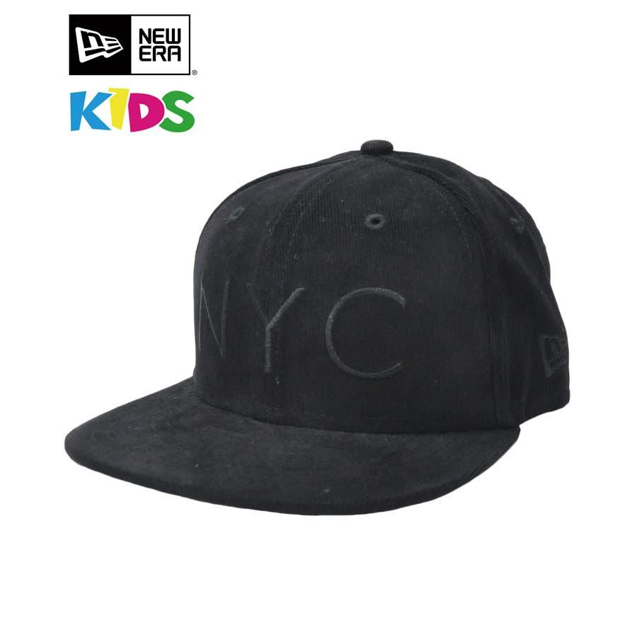 ニューエラ キャップ レディース メンズ CAP ◆ NEW ERA Kid's Youth 59FIFTY コーデュロイ NYCブラック × ブラック 11322260 キッズ 帽子 ロゴ 刺繍 NEWERA 1