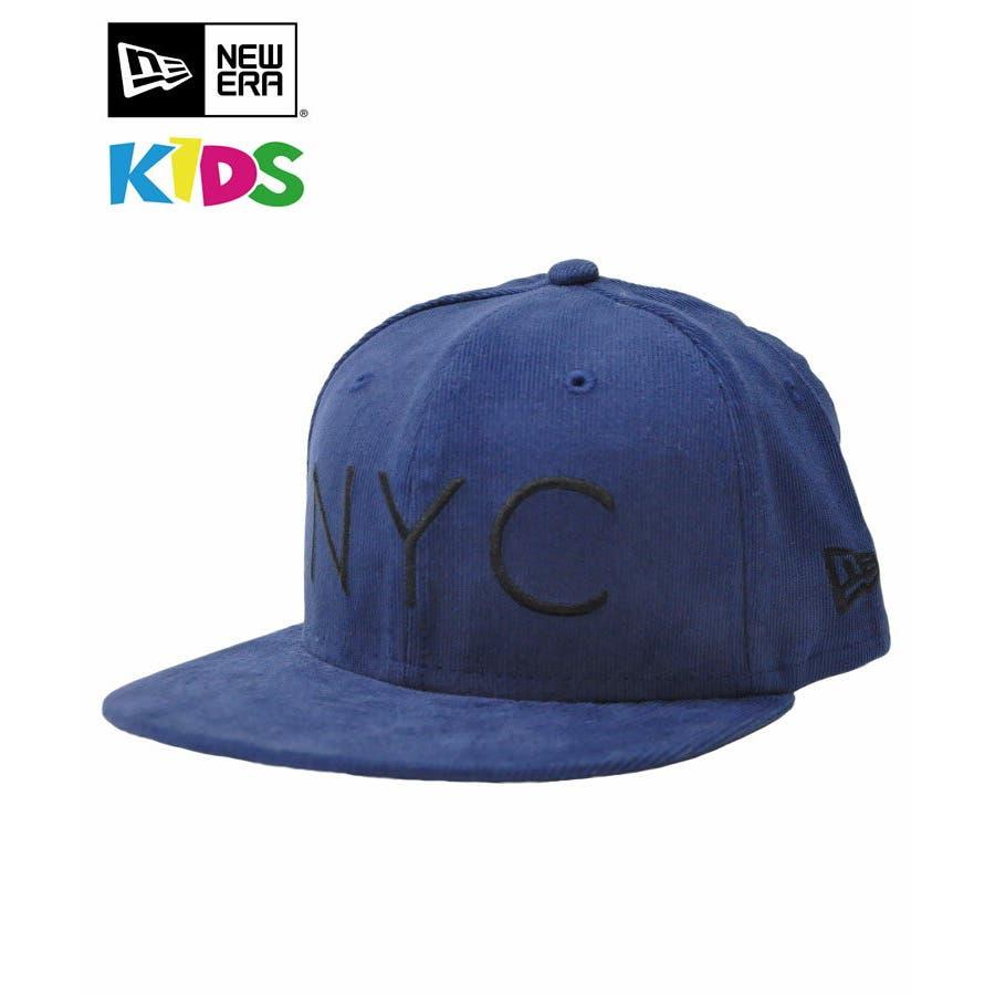 ニューエラ キャップ レディース メンズ CAP ◆ NEW ERA Kid's Youth 59FIFTY コーデュロイ NYCネイビー × ブラック 11322259 キッズ 帽子 ロゴ 刺繍 NEWERA 1