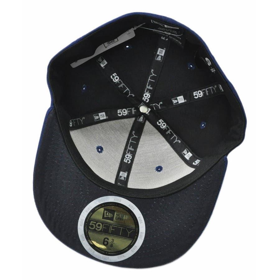 ニューエラ キャップ レディース メンズ CAP ◆ NEW ERA Kid's Youth 59FIFTY コーデュロイ NYCネイビー × ブラック 11322259 キッズ 帽子 ロゴ 刺繍 NEWERA 4
