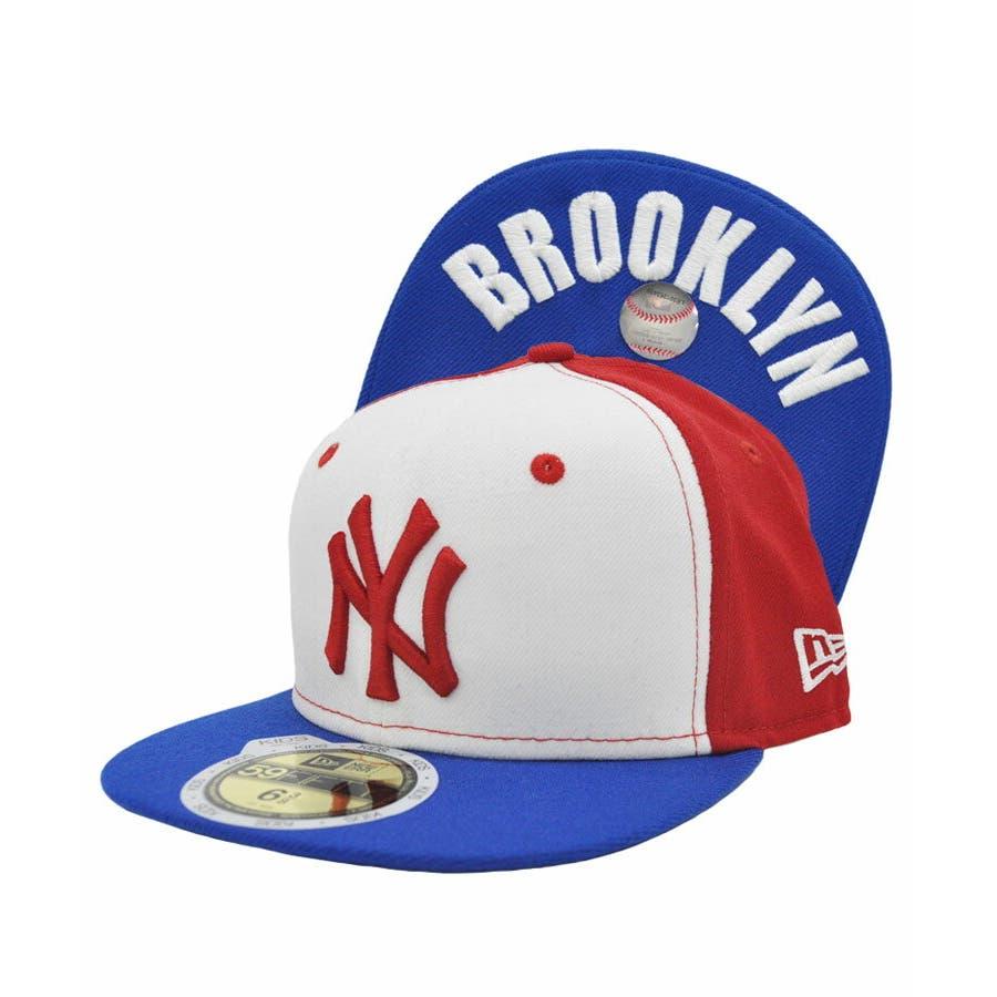 ニューエラ キッズ キャップ レディース メンズ CAP ◆ NEW ERA Kid's Youth 59FIFTY ヤンキースBROOKLYN アンダーバイザー トリコロール N0006324 帽子 ロゴ 刺繍 NEWERA 1