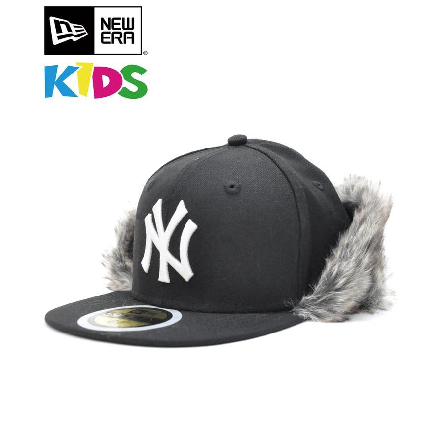 Kid's 59FIFTY フリップダウン イアーフラップ ニューヨーク・ヤンキース / ブラック × スノーホワイト[12108593] 1