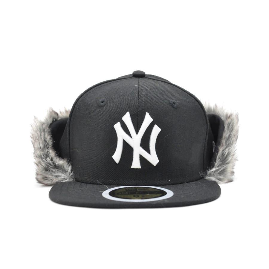 Kid's 59FIFTY フリップダウン イアーフラップ ニューヨーク・ヤンキース / ブラック × スノーホワイト[12108593] 2