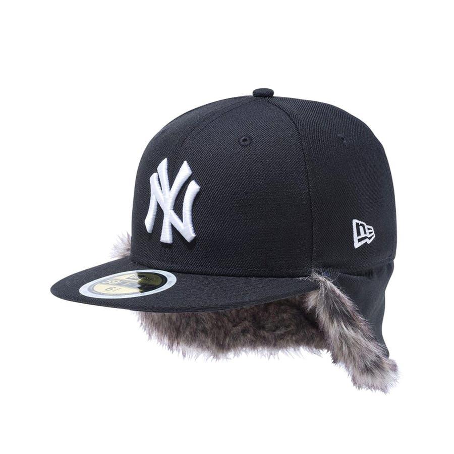 Kid's 59FIFTY フリップダウン イアーフラップ ニューヨーク・ヤンキース / ブラック × スノーホワイト[12108593] 5